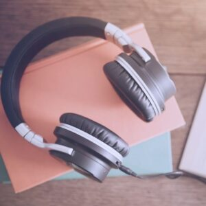 Spectrum Analysis Audio Recordings Earphones on Desk